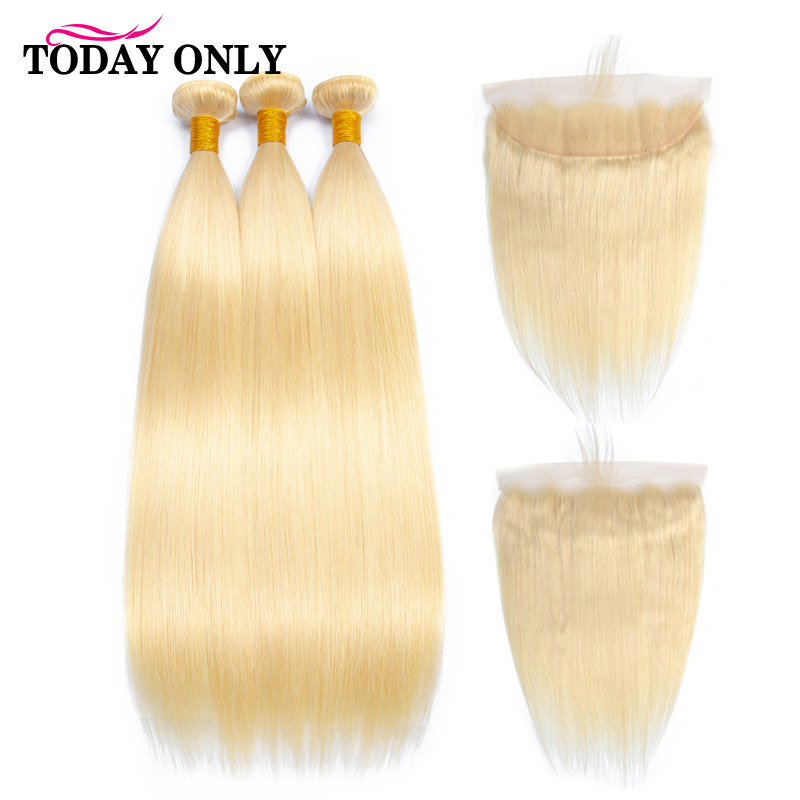 TODAY ONLY Peruvian Hair 3 Bundles With Frontal Straight Human Hair Bundles With Frontal 613 Blonde Bundles With Frontal Remy