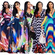 XURU nowy szyfonowa, z nadrukiem plus rozmiar sukienka S-5XL kobiety z długim rękawem sukienka z dekoltem w serek swobodna luźna sukienka Sexy kobieca sukienka