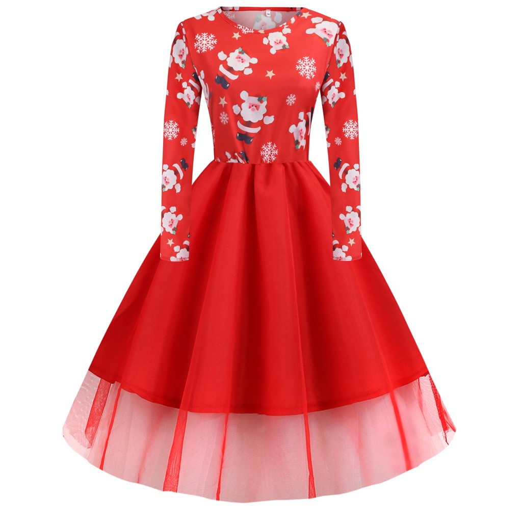 Christmas Dress Women Santa Claus Ladies Long Sleeves Xmas Dress Vintage Robe Femme Elegant Plus Size Women Ladies Dresses