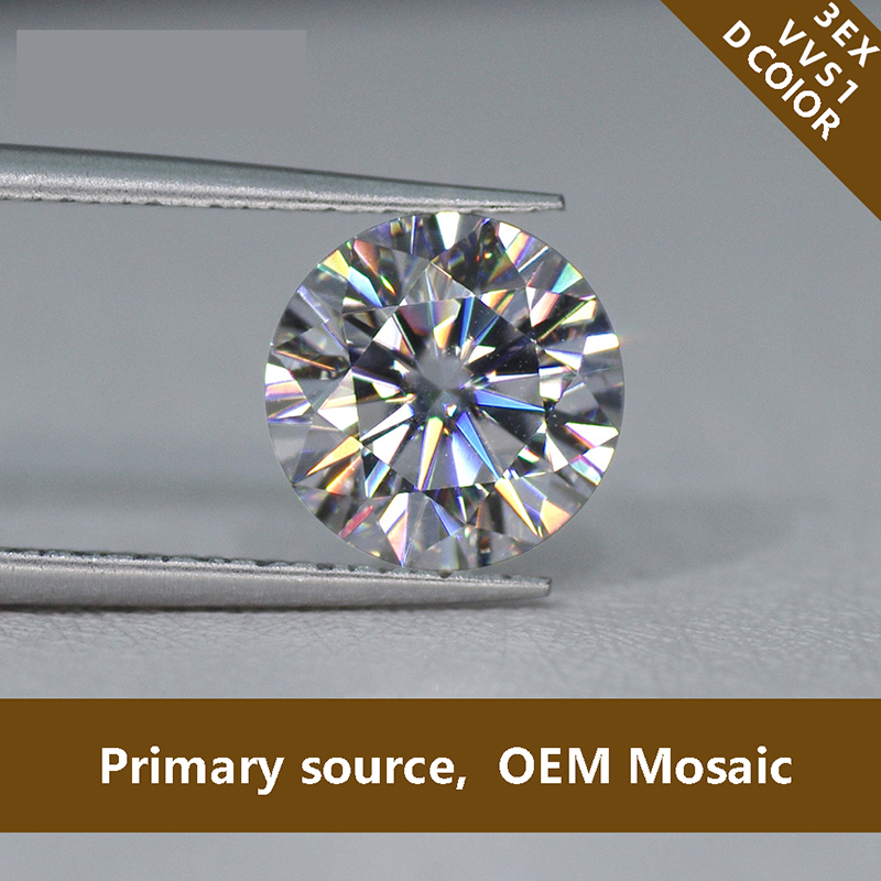 8mm 2ct Carat D Color Round Brilliant Cut Loose Moissanite Lab Created Moissanite FL grade Ring Making material