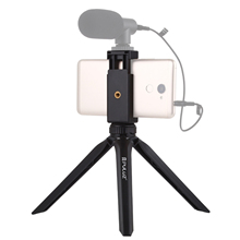 PULUZ Plastic Tripod Mount with Phone Clamp for Smartphone Desktop Live Broadcast