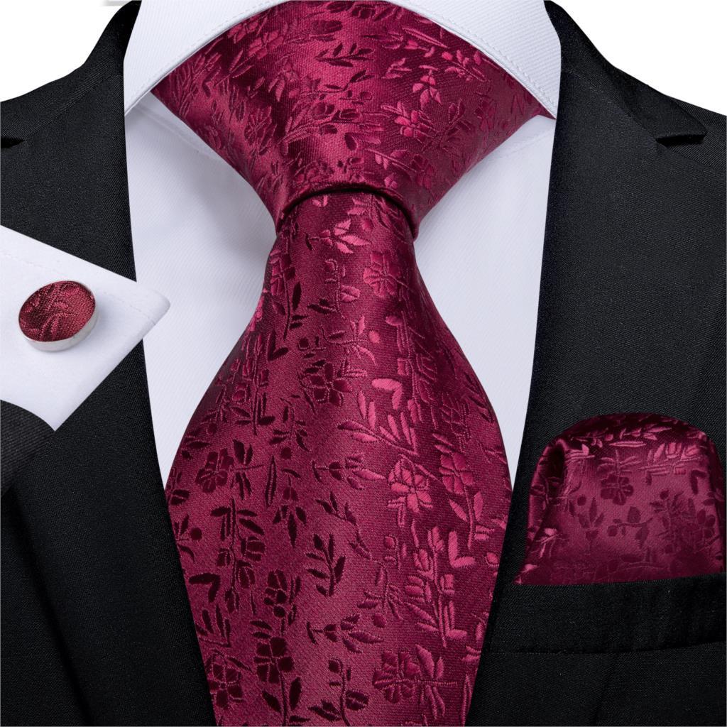 Fashion Men's Necktie Red Solid Floral Silk Wedding Tie For Men Hanky Cufflinks Gift Men Tie Set DiBanGu New Designer MJ-7263