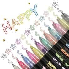12 kolorów podwójna linia zarys ołówek do makijażu Marker DIY Graffiti zarys Marker wyróżnienia księga gości Bullet Diary plakat karty