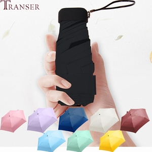 Image 1 - Transfer 9 renk düz hafif güneşli yağmurlu beş katlanır şemsiye katlanabilir güneş koruyucu Mini şemsiye 9905