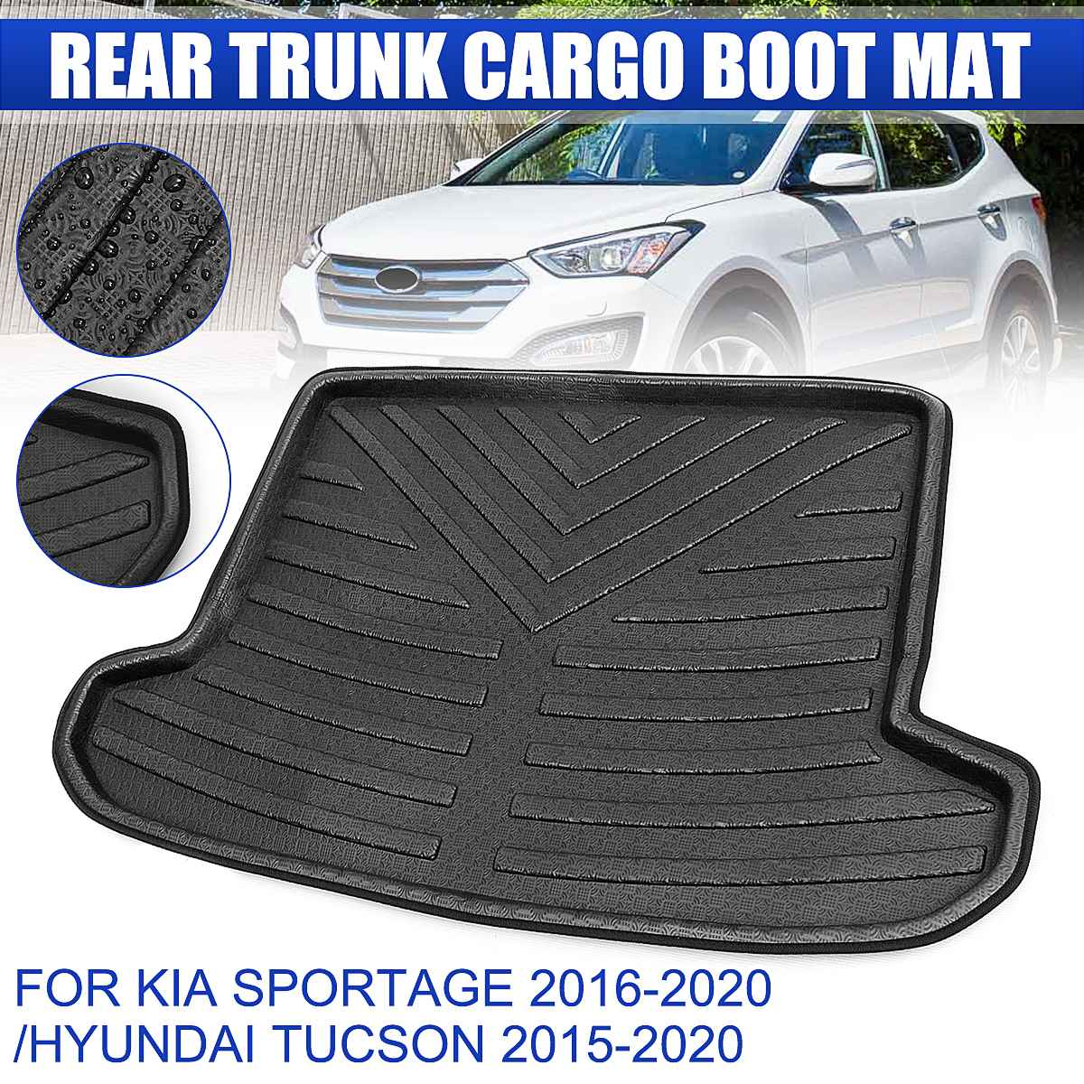 Rear Cargo Boot Liner Trunk Floor Mat Tray Carpet Mats Mud Kick for KIA Sportage 2016 2017 2018 2019 2020 For Hyundai Tucson