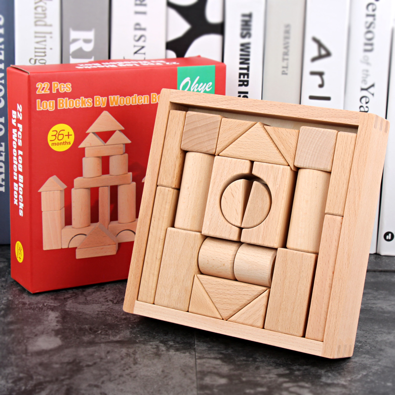 22 Pcs Log Blocks By Wooden Box Children's Educational Toys,Beech Building Blocks Toy,kindergarten Supplies Wood Blocks Natural