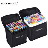 Marcadores touchcool caneta conjunto 40/60/80/168 cor animação esboço marcador cabeça dupla desenho arte escova canetas álcool baseado com 6 presentes