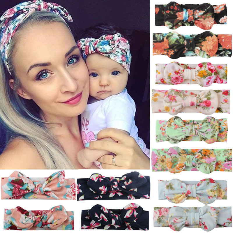 2PCS Mama & Baby Headwear Bowknot Elastic HeadBands For Women Children Tuban Baby HairBands Hair Accessories