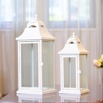 Windproof White Metal Candle Holder Glass Outdoor Iron Large Nordic Candle Holder Metal Glazen Kandelaar Candelabra JJZT