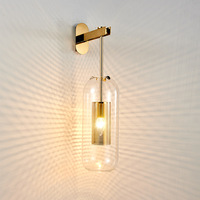 Modern Glass Wall Lamp Gold Sconce Wall Lights for Home Industrial Decor Bedroom Bathroom Mirror Light Fixtures Vanity Light