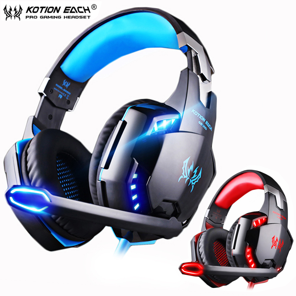 Kotion EACH PS4 Gaming Headsets Big Headphones with Light Microphone Stereo Earphones Deep Bass for PC Computer Gamer Tablet