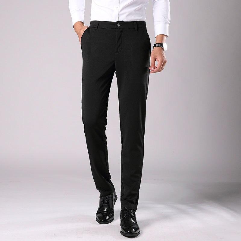 2019 New Men's Spring Autumn Fashion Business Casual Long Pants Suit Pants Male Elastic Straight Formal Trousers Plus Size 28-38