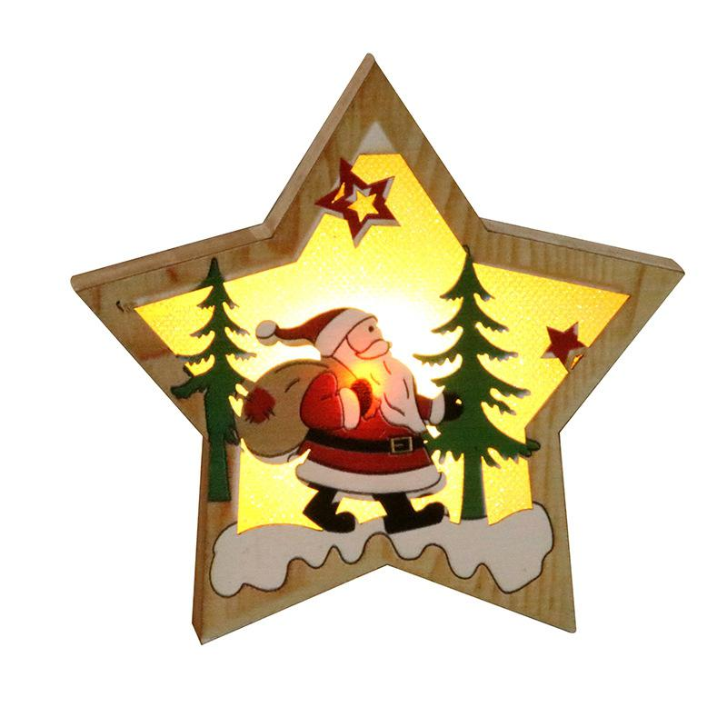 GloryStar Christmas Xmas Tree Ornament Wooden Glowing Pendant Decoration Props