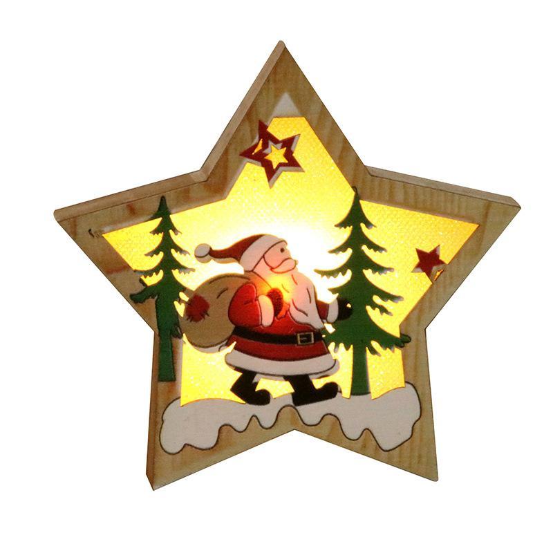 GloryStar Christmas Xmas Tree Ornament Wooden Glowing Pendant Decoration Props
