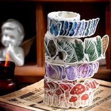 100 pcs /Roll Montain Pick Travel Butterfly Mushroom Flower DIY Decorative Masking Tape Diary Album Stickers