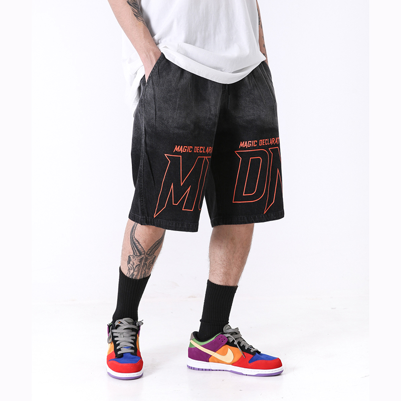Gradient Tie Dye Washed Ripped Jeans For Men Loose Casual Streetwear Denim Shorts Harajuku Letter Oversize Hip Hop Mens Shorts