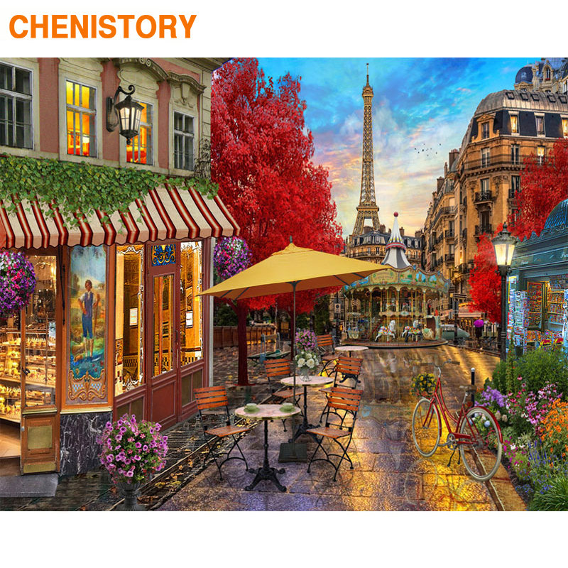 CHENISTORY Frame Paris Street DIY Painting By Numbers Modern Wall Art Canvas Picture By Numbers Hand Painted Oil Painting Gift