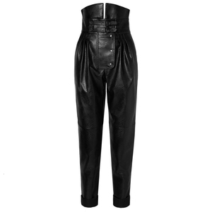 Image 4 - TWOTWINSTYLE PU Leather High Street Style Womens Pants High Waist Ruched Asymmetrical Trousers Female Fashion Clothing 2020 New