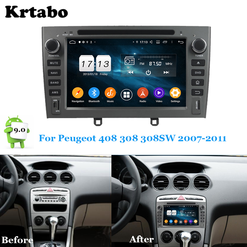 Car <font><b>radio</b></font> Android multimedia player Octa Core 4G RAM For <font><b>Peugeot</b></font> 408 308 <font><b>308SW</b></font> 2007-2011 Car touch screen GPS Support Carplay image