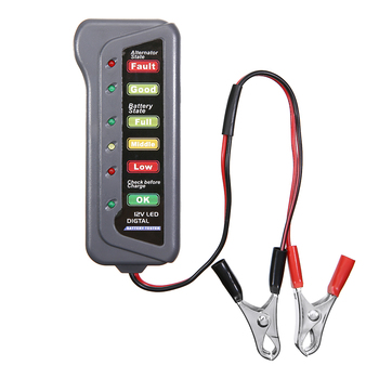 12V Battery Load Tester Alternator Analyzer Tester 6 LED Indicator Battery Tester with 2 Clips For Car Motorcycle image
