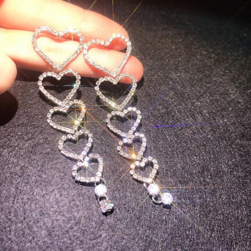FYUAN Long Tassel Crystal Drop Earrings for Women New Shiny Hear Rhinestone Dangle Earrings Weddings Bride Jewelry Gifts