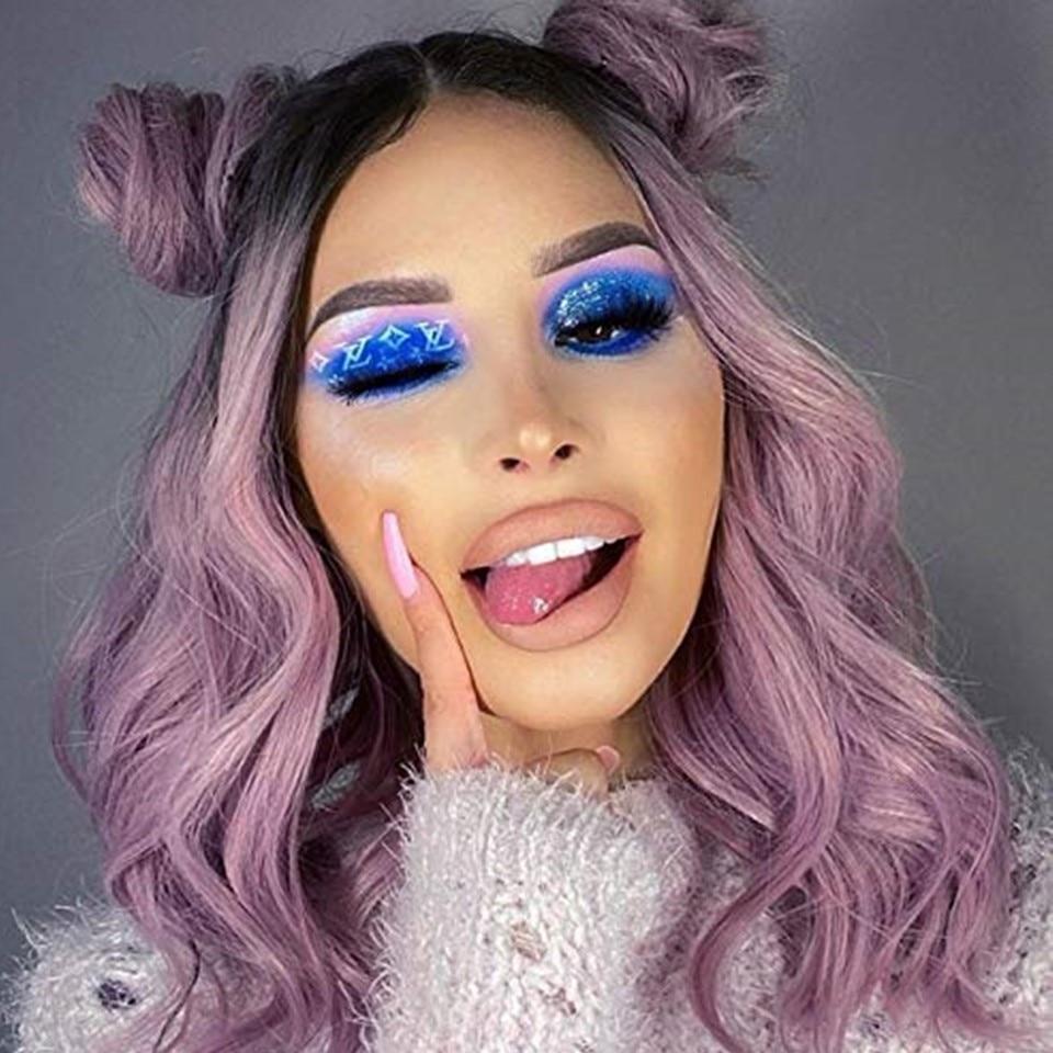 Beauчерное фиолетовое волокно парик с челкой синтетические волосы Омбре короткие блонд коричневый синий черный боб парики для женщин Коспле...