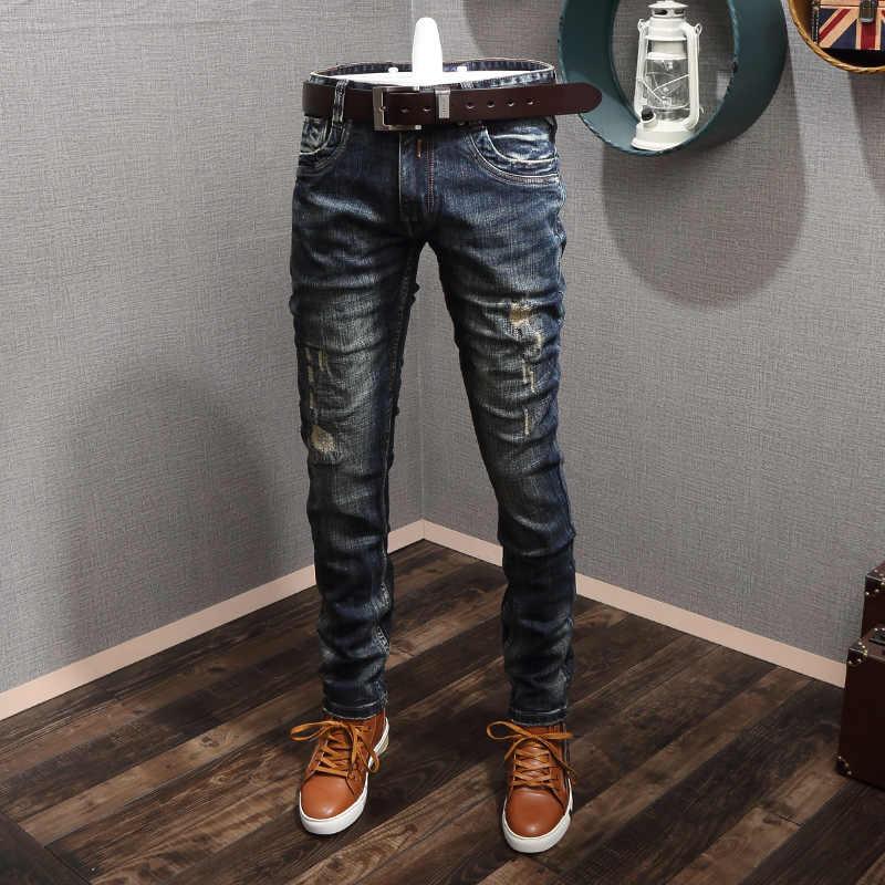 이탈리아 스타일 패션 남자 청바지 레트로 워시 블랙 블루 슬림 맞는 찢어진 청바지 남자 고품질 Streetwear 빈티지 디자이너 청바지