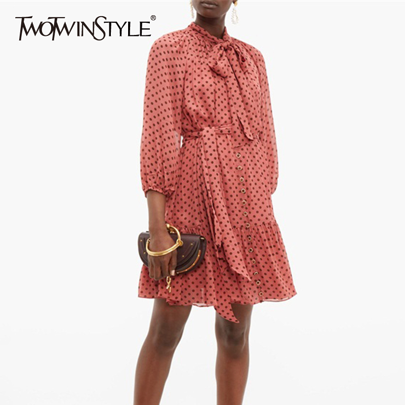 TWOTWINSTYLE Vintage Bowknot Dot Dress For Women O Neck Long Sleeve High Waist Lace Up A-line Mini Dresses Female 2019 Fashion