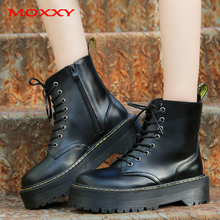 2019 New Platform Martin Boots Black Combat Boots Women Leather Gothic  Punk Ankle Boots Women Shoes Lace Up Casual Botas Mujer prova perfetto punk style women ankle boots special two kinds of wear rivet studded martin boots lace up genuine leather botas