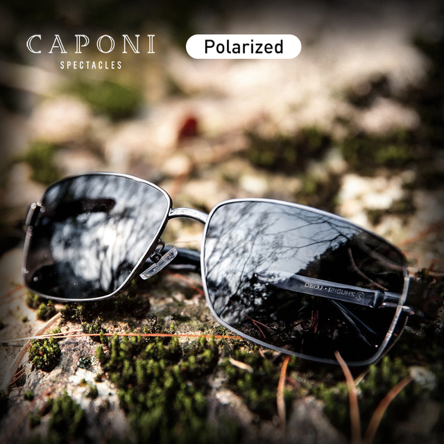 CAPONI Polarized Sun Glasses Men Square Style Titanium Frame Shades For Male Vintage Fashion Black Designer Sunglasses CP9008