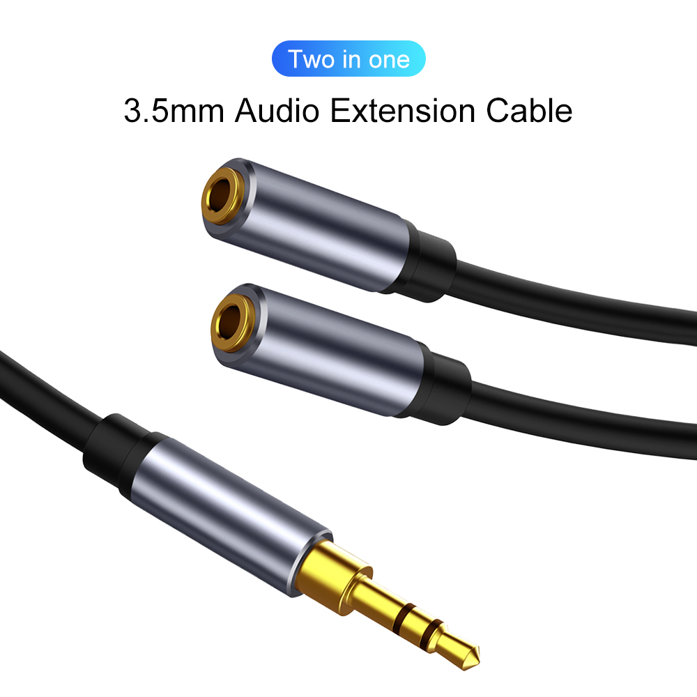 3.5mm Jack Audio Adapter Cable Earphone Splitter 2 In 1 Aux Headphones Splitter Adapter For Phone IPad 3.5 Audio Extension Cord