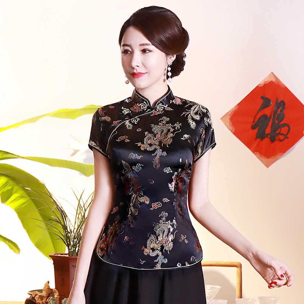 숙녀 중국어 탑스 전통 의류 당나라 스타일 블라우스 새틴 셔츠 빈티지 수제 단추 셔츠 섹시 특대 3xl 4xl