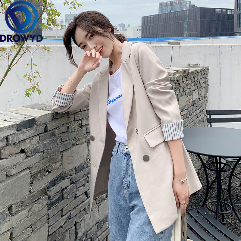 Women Black Blazers 2020 New Fashion Lady Office Work Suit Pockets Jackets Coat Casual Loose Tops Long Sleeve Green Femme Blazer