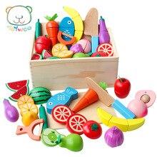 Деревянные фрукты и овощи модель резки слайсер дети игровой дом игрушка магнит резки