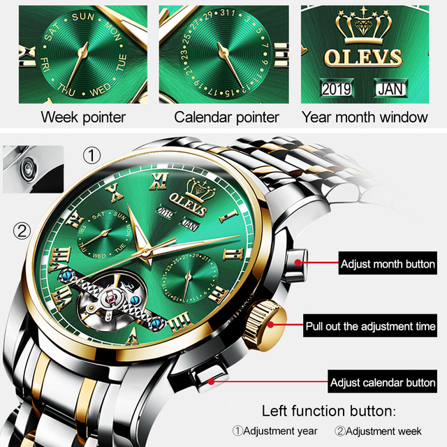 OLEVS Automatic Mechanical Men Watches Stainless Steel Waterproof Date Week Green Fashio Classic Wrist Watches Reloj Hombre 6