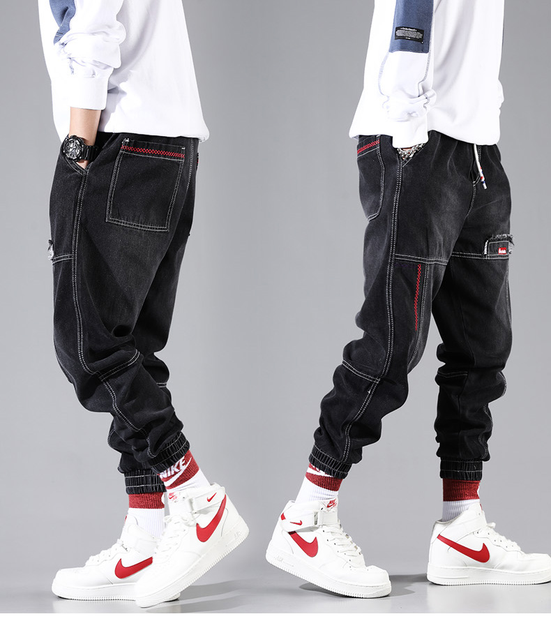 Hip Hop Streetwear Harem Jeans Pants Men Loose Joggers Denim Casual Sweatpants Korea Ankle length Trousers 21