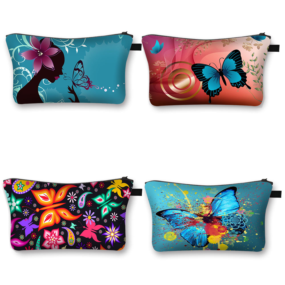 Butterfly Cosmetic Bag Women Fashion Makeup Bag Ladies Canvas Cosmetic Case Girls Make Up Organizer Travel Bag
