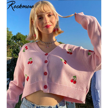 Rockmore Cherry Print Button Up Sweater Women Oversize Y2K Long Sleeve V Neck Cardigans Harajuku Korean Pink Crop Tops Sweater