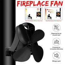 New Black Stove Fan 4 Blade Fireplace Fan Heat Powered Wood Burner Eco Fan Friendly Quiet Home Efficient Heat Distribution