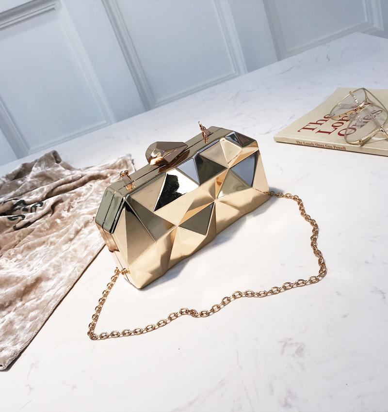 Hexagon Women Handbags Metal High Quality Clutches Fashion Geometric Mini Party Black Evening Purse Silver Bags Gold Box Clutch (22)