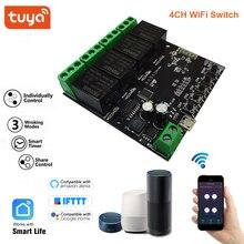 وحدة تحكم لاسلكية ذكية مع 4 قنوات ، وحدة تحكم منزلية متوافقة مع Smart Life و Tuya و Alexa و Google Home