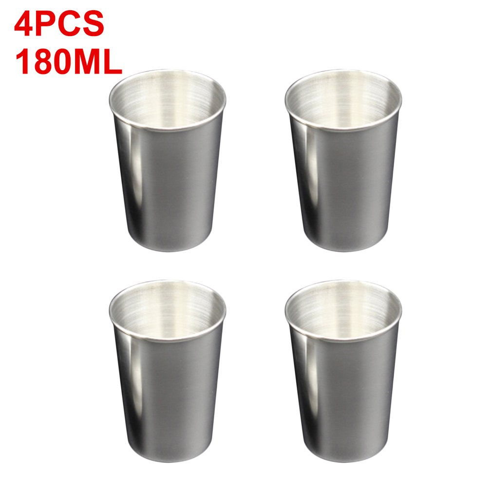 4PCS/SET 180ML Stainless Steel Cover Mug Camping Cup Mug Drinking Coffee Tea Beer Cup for Travel Camping Holiday Picnic