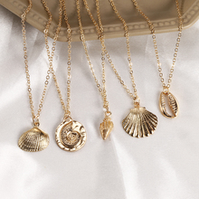HOCOLE Fashion Gold Color Shell Starfish Pendant Necklace For Women Bohemian Charm Chain Choker 2019  Brincos Jewelry