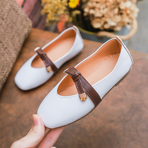 Nuevos zapatos de primavera para niñas, zapatos planos de Ballet de princesa, zapatos de baile para fiestas de boda, zapatos para niños de 1 a 12 años de edad, rosa, Blanco, Naranja