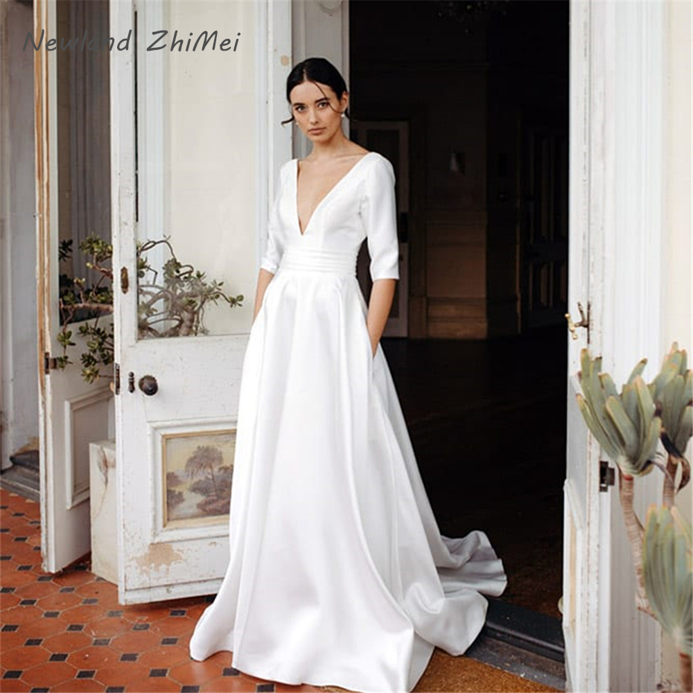 Elegant White Wedding Dresses 2020 Long A-Line Backless Bridal Wedding Party Bridal Gowns Half Sleeve Party Bride Dress