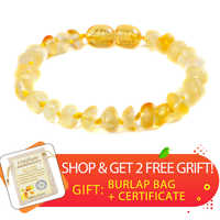Polished Lemon Amber Teething Bracelets Anklets 4.7--8.7'' Handmade Original Jewelry Baltic Amber Beads for Baby Adults Women