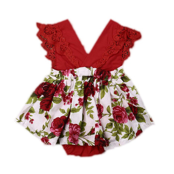 2021 Baby Clothes Summer Infant Baby Girls Clothes Floral Bodysuit Dress Sleeveless Lace V-Neck Ruffle Jumpsuit Headband Set New