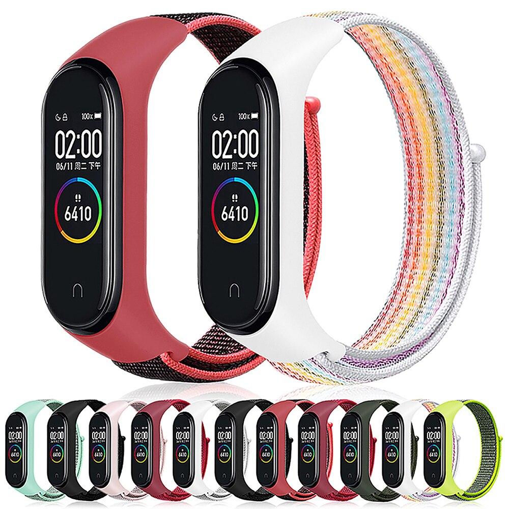 Velcro nylon strap for xiaomi mi band 4 band NFC smart Watch replacement xiaomi mi bracelet 3 colorful strap anti-lost wristband(China)