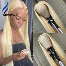 ALICROWN 613 Blonde Straight Wigs For Black Women Lace Front Human Hair Wigs With Bleached Knots 180% Density Non-Remy Hair