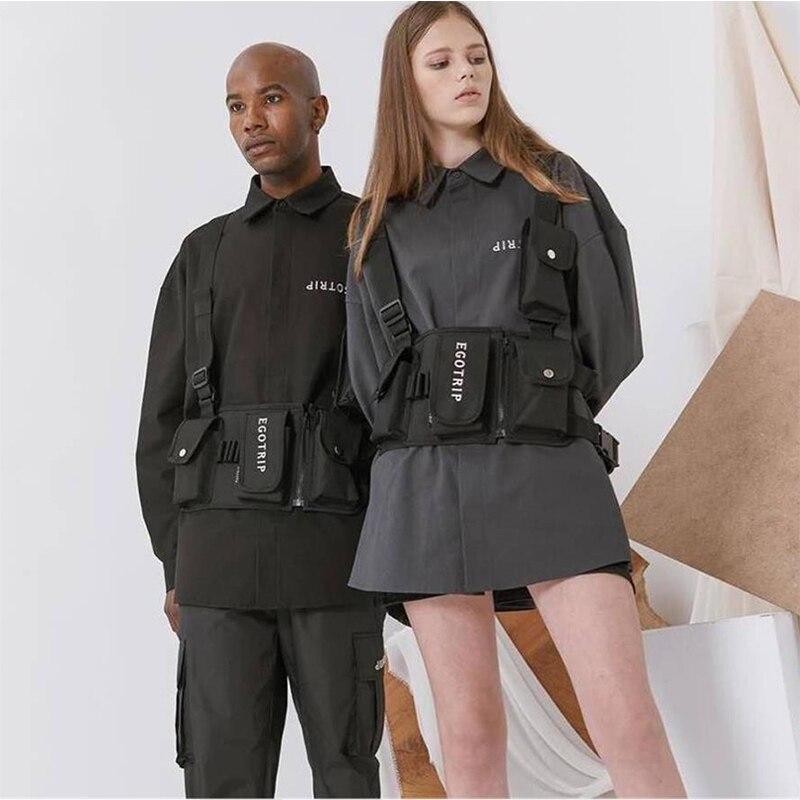 Streetwear Chest Rig Bag Men Tactical Functional Chest Bags Trend Hip Hop Vest Bag Adjustable Canvas Chest Vest Pack Kanye West